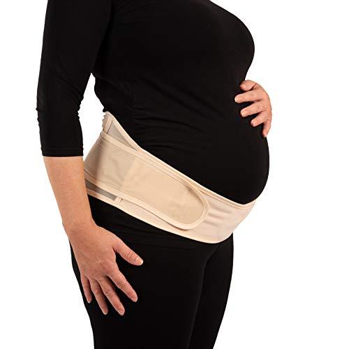 Deluxe Schwangerschafts-Set bestehend aus verstellbarem Babybauch-Gurt mit Rückenunterstützung (hautfarben) (S-XXL) & 100% natürlichem Babybauch-Öl (250ml), Babyshower