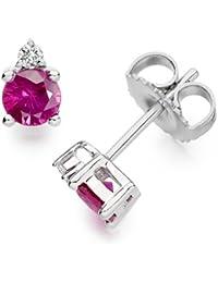 Diamond Manufacturers - Boucles d'Oreilles Femme avec 2 diamanten - Platine