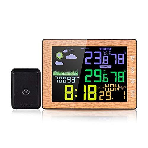 TIB Heyne Vorhersage Wetterstation Alarmuhr mit Indoor-Outdoor Wireless Sensor Temperieren Überwachung Thermometer Home Kitchen Office Time and Date Display Funktion,WG,8201