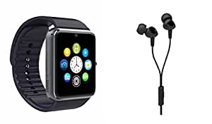 MIRZA Bluetooth GT08 Smart Wrist Watch & C100 Headset for HTC ONE MINI 2(C100 HEadset,Earphones & GT08 Smart Watch Watch Phone with Camera & SIM Card Support Hot Fashion New Arrival Best Selling Premium Quality Lowest Price with Apps like Facebook,Whatsapp, Twitter, Sports, Health, Pedometer, Sedentary Remind,Compatible with Android iOS Mobile Tablet-Assorted Color)