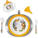 Innovaciones MS 8706 - Set vajilla plato termo, color naranja y blanco