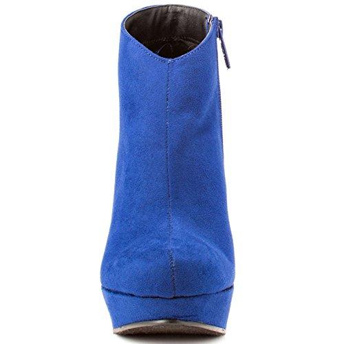 EKS Damen Runde Zehe Plattform Keilabsatz kurze Stiefel für Kleid Blau