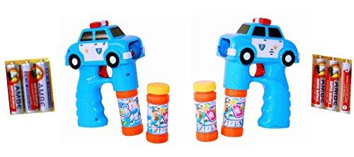2 x Polizei Auto Seifenblasen Pistole LED Licht Funktion Seifenblasenmaschine Bubble Gun inkl. 4 x Seifenblasenlösung / Flüssigkeit & 6 AA Ambe Batterie (Licht Bubble Gun)