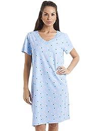 Chemise de nuit en coton - motif à coeurs bleus/fleurs roses