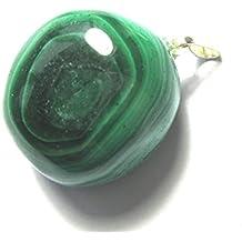 Malaquita - Trommelstein-Colgante - amuleto con anilla - Plata 925 - Diseño con piedra preciosa - en joyero - a mano grande - de piedra - a + calidad+