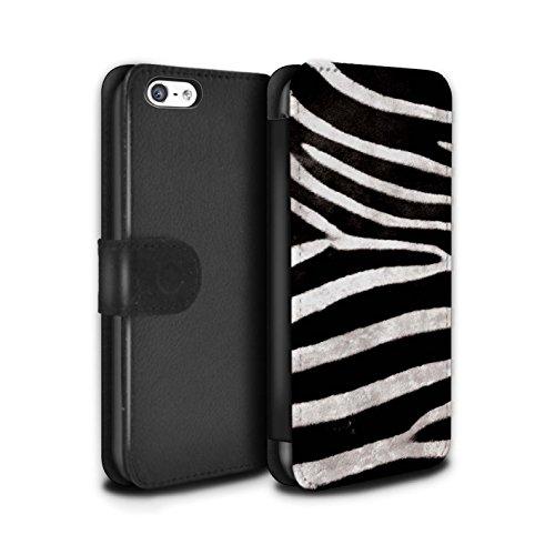 Stuff4 Coque/Etui/Housse Cuir PU Case/Cover pour Apple iPhone 5/5S / Zèbre Design / Motif Fourrure Animale Collection Zèbre