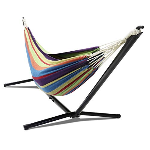 IDMarket - Hamac avec Support métal et Toile rayée Multicolore