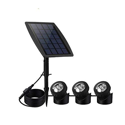 XDLUK Solarspot 3 Scheinwerfer Unterwasser Strahler mit 18 LEDs Außenbeleuchtung IP68 Wasserdichte Solarleuchten Für Teich Garten Schwimmbad Brunnen Outdoor Rasen, Warmweiß -