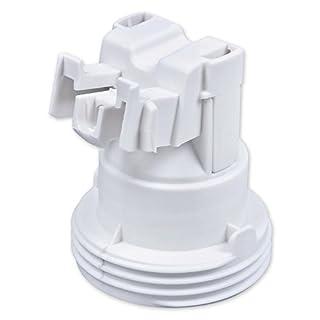 E27 Lampenfassung Kunststoff (PBT), Gewindefassung mit Halterung, Sockel mit Einbuchtung für M4 Schraube Weiß (RAL 9003)