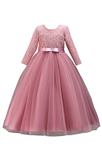 Mädchen Prinzessin Taufe Kleid Kommunion Kleid mit Blumenstickerei lang Altrosa 160