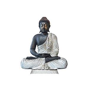 RB Wohndesign Buddha Figur groß im Lotus Schneidersitz aus Lavasteinguss 60 cm Meditation Statue Skulptur Feng Shui