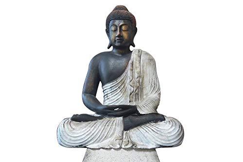 Meditation Buddha-statue (RB Wohndesign Buddha Figur groß im Lotus Schneidersitz aus Lavasteinguss 60 cm Meditation Statue Skulptur Feng Shui)