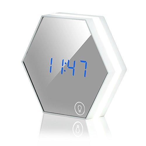 KYG Multifunktionale Lichtwecker Spiegel Wecker LED Nachtlicht Thermometer USB Aufladbar Nachttischlampe Weißlicht