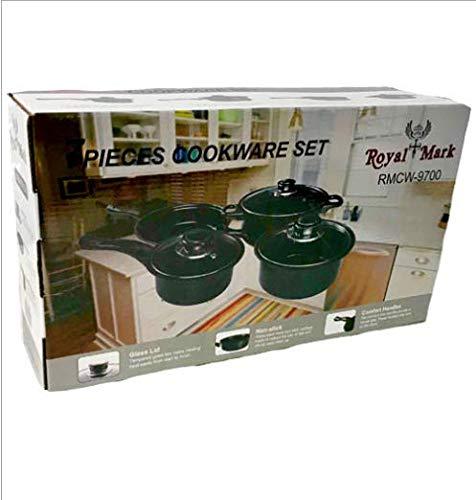Royal mark batteria di pentole 7 pezzi antiaderente - set casseruole padelle con coperchi leggere e salvaspazio con rivestimento antiaderenti - rmcw-9700