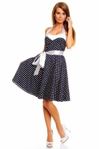 Neckholder Rockabilly Kleid 50er Jahre mit Pünktchen BLAU - 3