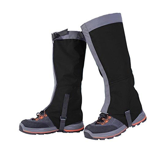 Unisexo Impermeable Resistente a Nieve Al Aire Libre Polainas Pierna Cubrir Envolturas Caminar para Alpinismo Caza Excursionismo (L, negro)