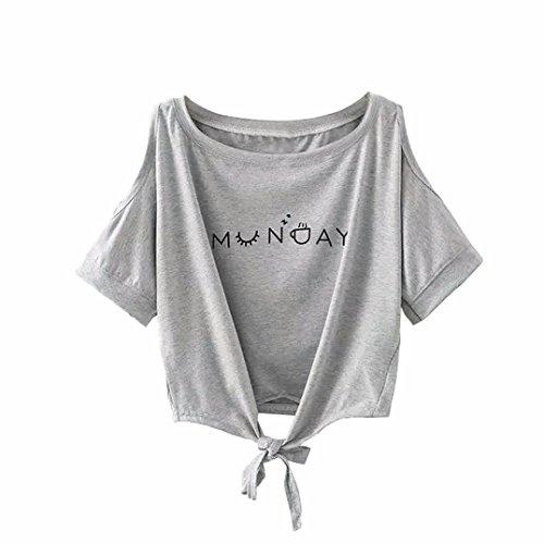 Transer ® Chemisier Femme,Femmes douces épaule Imprimé Off Blouse Casual Shirt à manches courtes en vrac Tops Gris