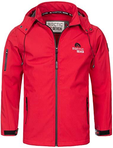 Arctic Seven Herren Designer Softshell Funktions Outdoor Regen Jacke Sport AS087 [AS-087-Rot-Gr.XL]