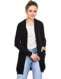 MansiCollections Black Hooded Cardigan for Women