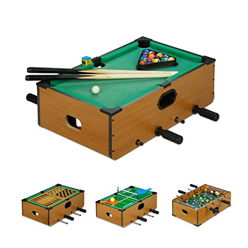 Relaxdays Multigame Tisch, 5 in 1, Tischkicker, Billard, Tischtennis, Schach & Backgammon, Multi Spieltisch, braun (Mini Tisch Kicker)