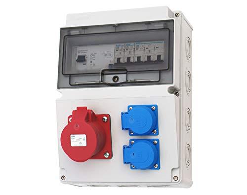 Wandverteiler CEE 16A + 230V + FI Stromverteiler Baustromverteiler Feuchtraumverteiler 2-6