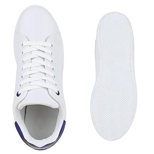 Damen Sneakers Sportschuhe Schnürer Lack Lederoptik Schuhe Weiss Blau