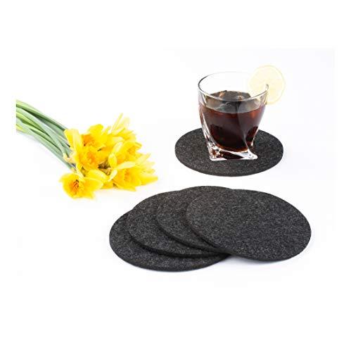 Stofftex Untersetzer aus Filz 5mm Glas Getränke Gläser Tisch Tassen Flaschen Bar Blumen (15cm rund (4er Pack), Dunkelgrau) (Niedrige Runde Glas-vase)