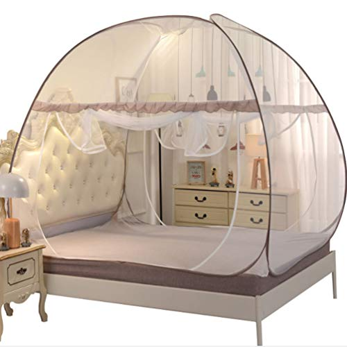 XGYUII Moskitonetz-Bett-Überdachungs-Zelt-Platz-Spitze Iarge Raum erhöhte doppeltes Tür-Netz verhindern Insekt-Pop-Up-Bissen für Bett-Camping-Reise-Haus im Freien,Coffee,180 * 200 * 165cm