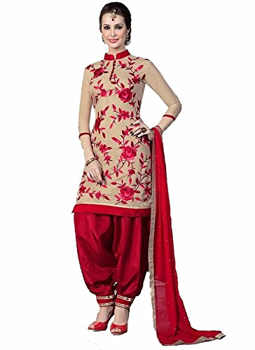 Sarees Creation new red creme chanderi cotton festival party wear patiala suit dress material