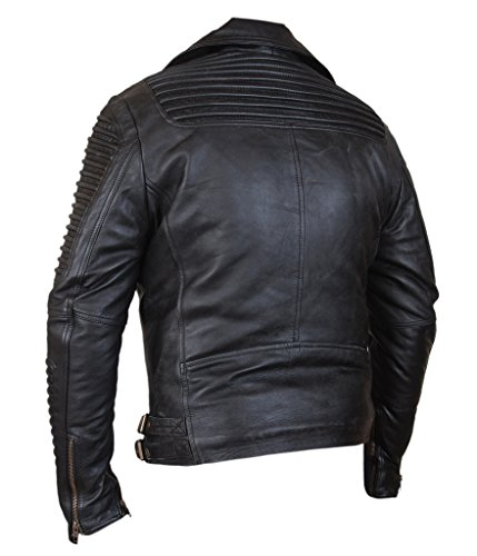 F&H Men's Ribbed Sleeves Biker Jacket Black