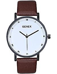 Genex Quartz Analog White Dial Brown Leather Watch-GX-2301