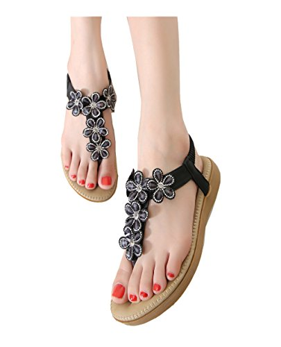 colorfulworld aux Femmes Tongs Chaussures en Sandale Of Flowers Strass Styles de Bohemia Noir