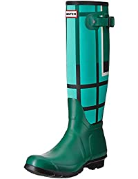 Hunter Botas de agua Wmn Org Tall Tartan Verde / Aguamarina EU 39 (UK 6)