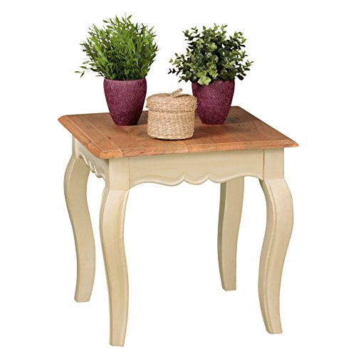 WOHNLING bois de manguier massif d'opium en bois de table 50 cm blanc vie élevé salon table style ferme Acacia Meubles table en bois unique Living Room 4 pieds de table de style table basse française