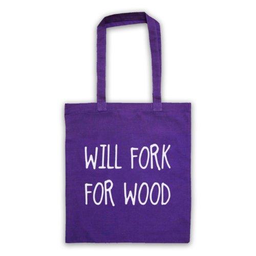 Will Forchetta per legno, scritta con Slogan divertente Borsa Viola