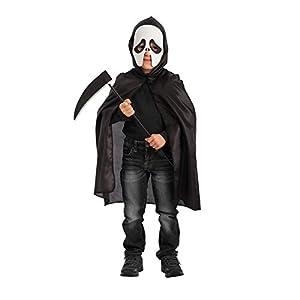 Carnival Toys - Juego fantasma: capa con capucha, máscara de foami y guadaña en bolsa, 63 cm, color negro (743)