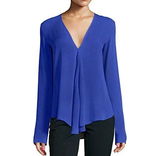 Xmiral Lange Ärmel Bluse Damen Einfarbig V-Ausschnitt Geschäft Arbeit Tops Hemd Mode Regulär Formell Tunika T-Shirt Große Größe(Blau,M)