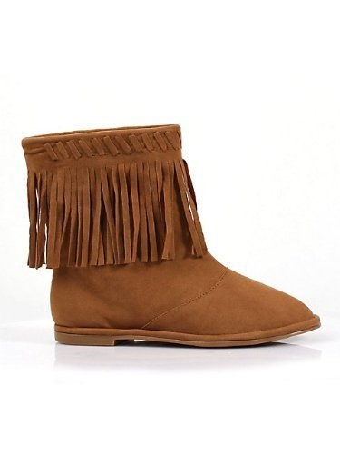 Flat Children's Moccasin Boot with Fringe (Tan;Medium) by Ellie Shoes