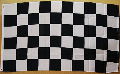 Black And White Checkered Flag 3' X 5' Deluxe Indoor Outdoor Banner by Nuge