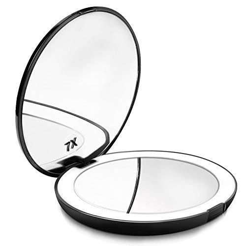 Powcan Espejo Maquillaje, Viaje con 10 luzs LED - Mini Espejo Bolsillo cosmético Compacto, Aumento...