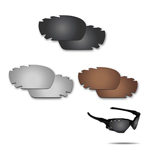 fiskr anti-saltwater Polarisierte Ersatz Gläser für Oakley Jawbone Vented Racing jakcet 3Paar Pack, Stealth Black & Metallic Silver & Bronze Brown