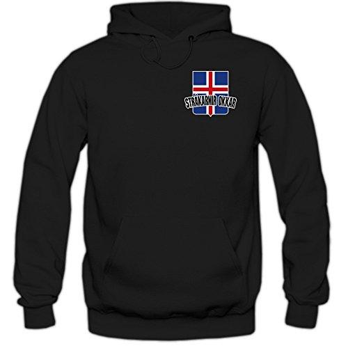 Island EM 2016 #5 Kapuzenpullover   Fußball   Herren   Strákarnir okkar   Trikot   Nationalmannschaft, Farbe:Schwarz (Black F421);Größe:XXL