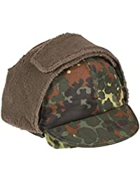 Genuine German Army Issued Flecktarn Camouflage Winter Pile Hat GRADE 1 USED