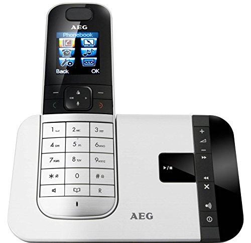 AEG Voxtel D575 - Téléfono inalámbrico DECT con contestador automático y pantalla a color, aluminio
