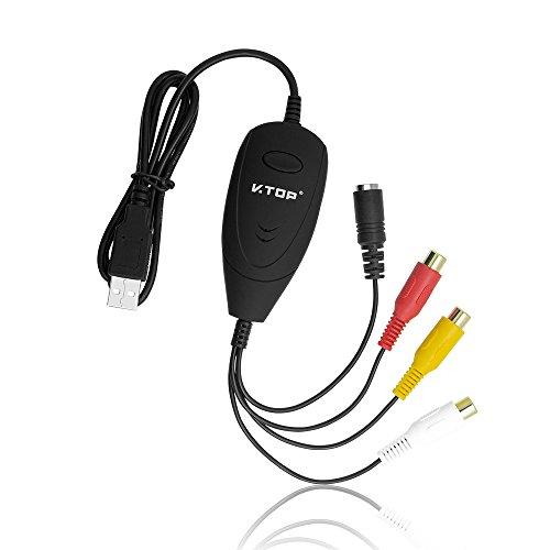 VTOP USB Audio Video Grabber/Video Capture Card - VHS DVD Video Kassetten Digitalisieren Recorder für PC (VHS Videoadapter,Hi8 Camcorder)