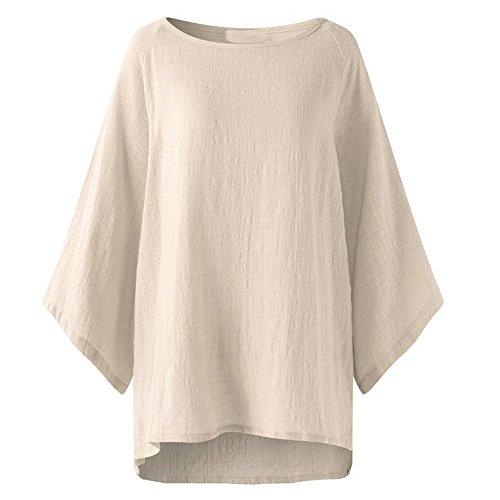 MRULIC Damen Leinen Gemütlich Leinen Dünnschnitt Lose langärmelige Bluse T-Shirt Pullover(Y5-Beige,EU-52/CN-5XL)