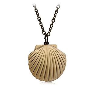 Blisfille Gold Halskette Herren Medaillon Vintage Medaillon Amulett Foto Bilder Kette Damen Herren Halskette Anhänger Shell Form Anhänger Bildereinlage Photo Amulett Kette Bronze Retro