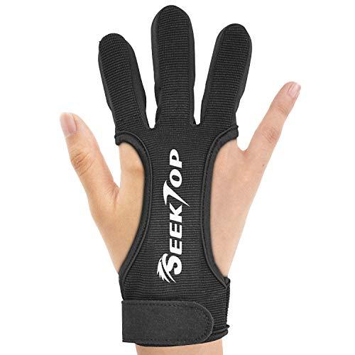 Seektop Traditioneller Bogenschießen Schießhandschuh, 3 Finger-Schutz Handschuhe für Kinder-Jugend-Erwachsen-Anfänger schießen-S