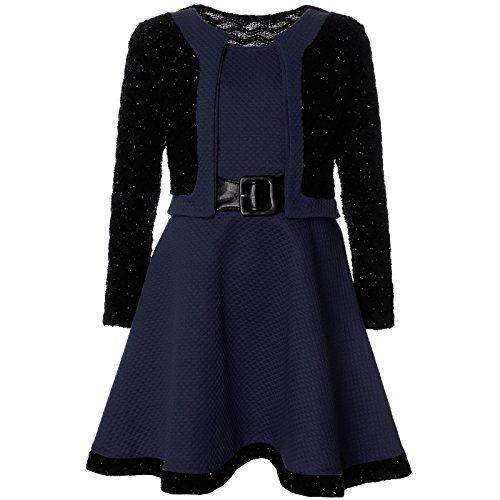 ze Winter Kleid Langarm 21644, Farbe:Navy, Größe:140 (Navy Kinder Brautjungfer Kleider)