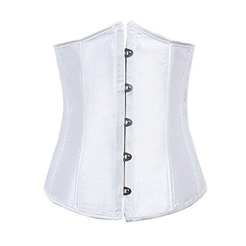 erbrustkorsett Waist Cincher Satin Bauchweg Corsage Top Tailenformer Dessous L Weiß (Plus Size Pirate Korsett)